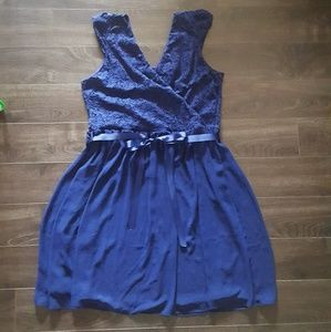 Beautifully Bubbly A-Line Dress in Navy in 1X